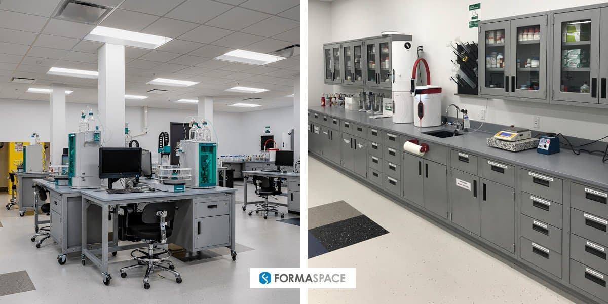 Examples of Formaspace titration lab installations, modular on left, casework on right