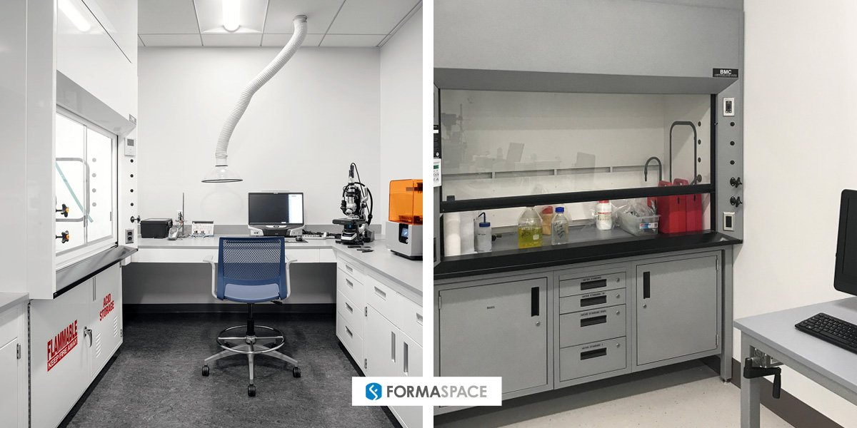 Examples of Formaspace toxic substance handling laboratories with fume hoods (both sides) and snorkel shown on left.