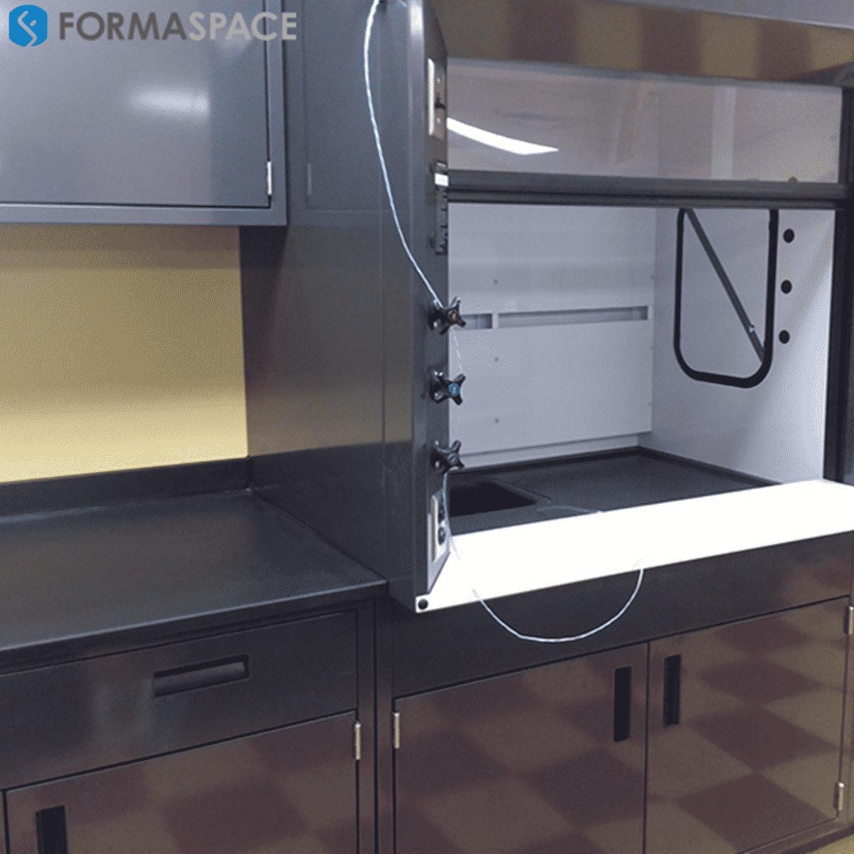 steel casework with bench top fumehood