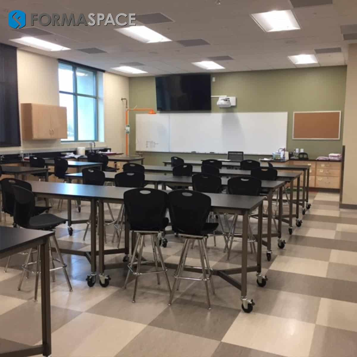 phenolic top classroom benches with y spreader