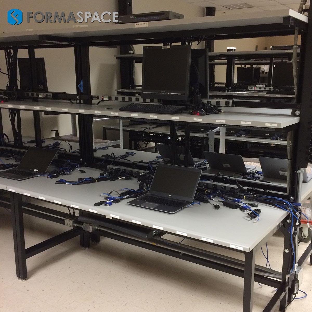 computer workstation with upper shelves
