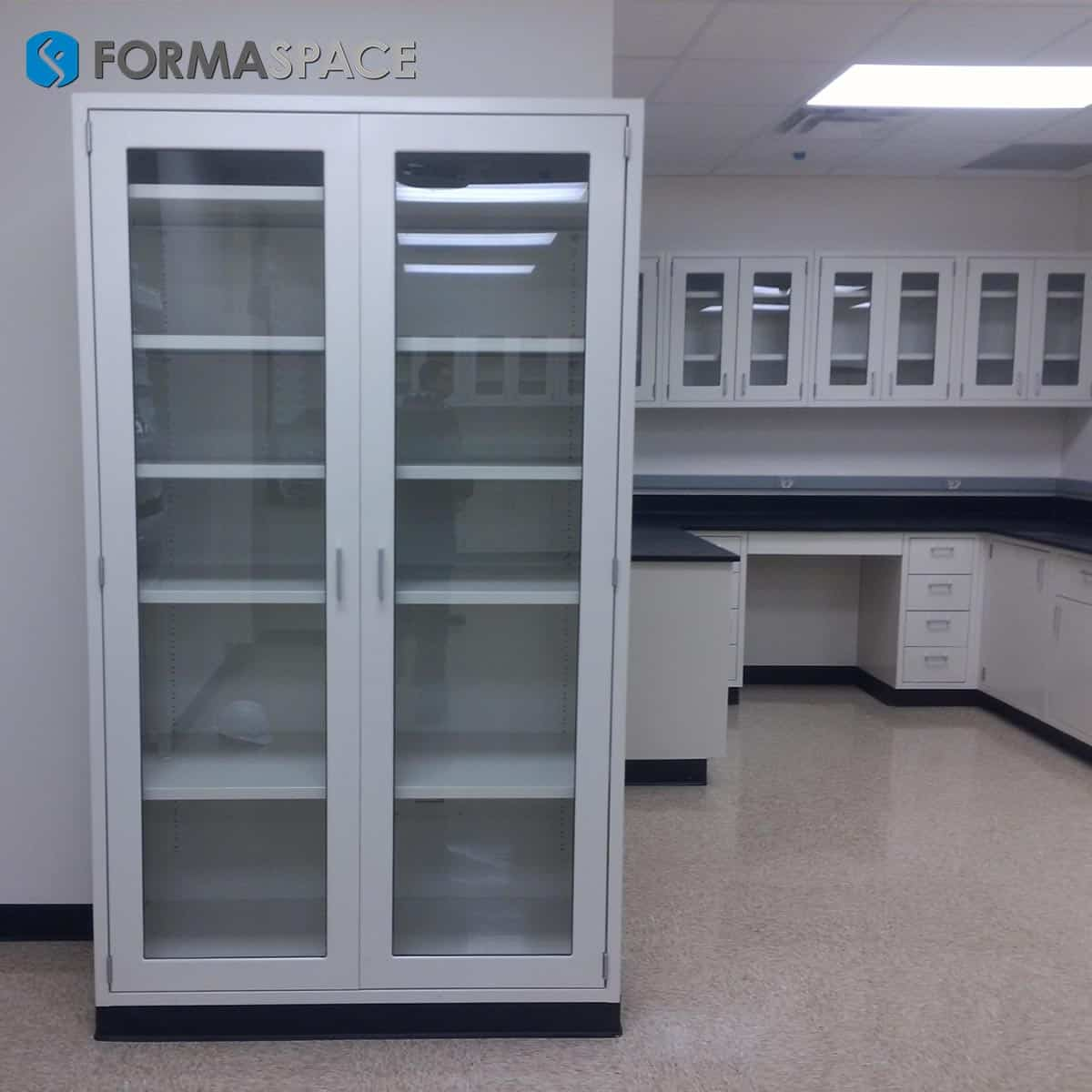 casework and large glass door cabinet