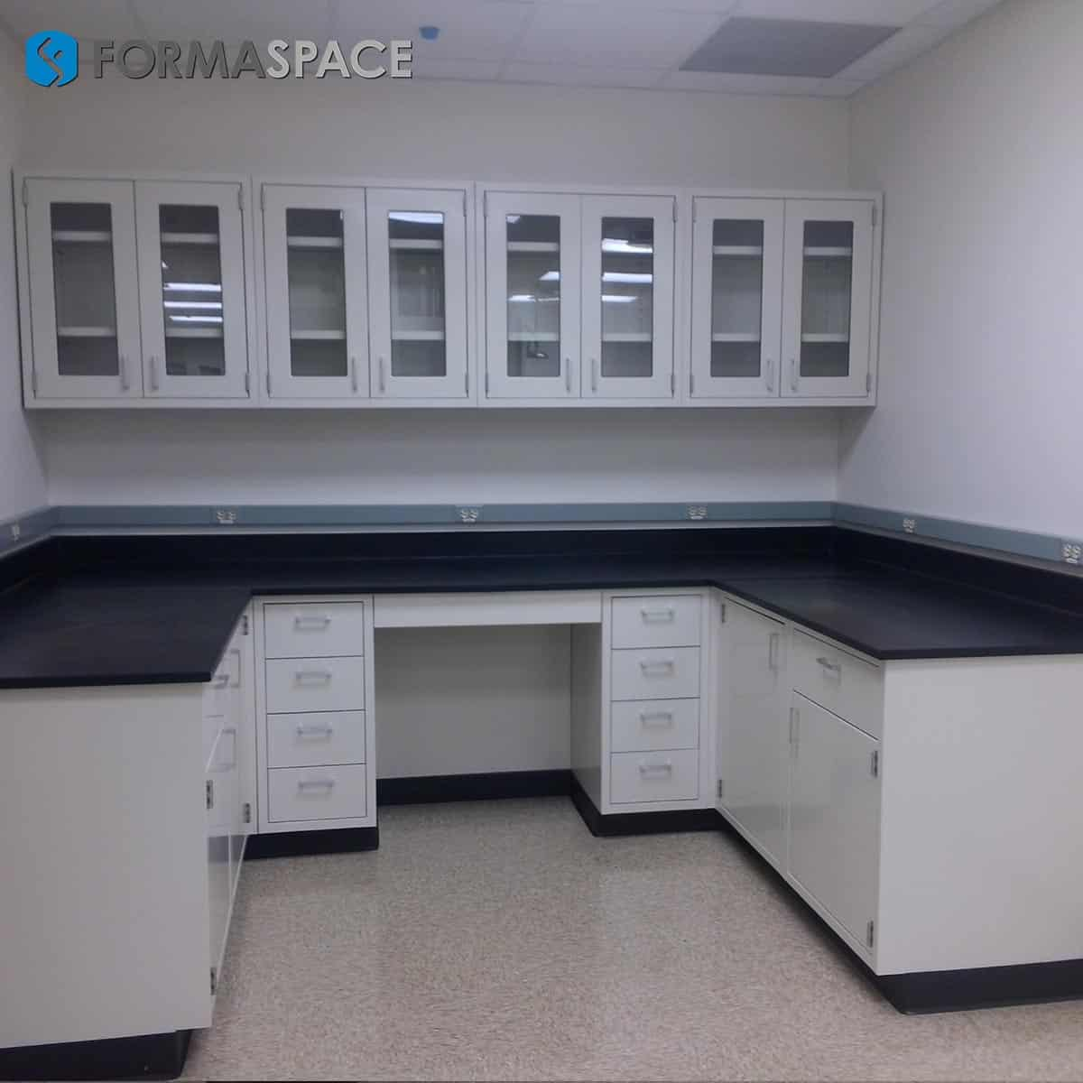 lab casework epoxy top glass cabinet