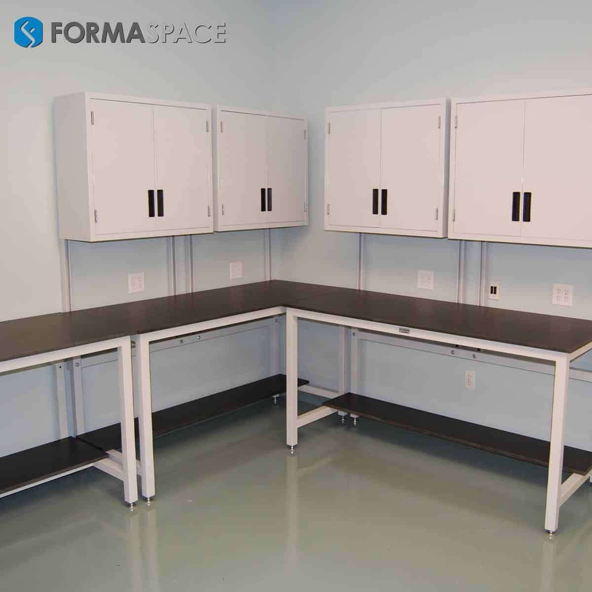 phenolic workbenches with upper cabinetry