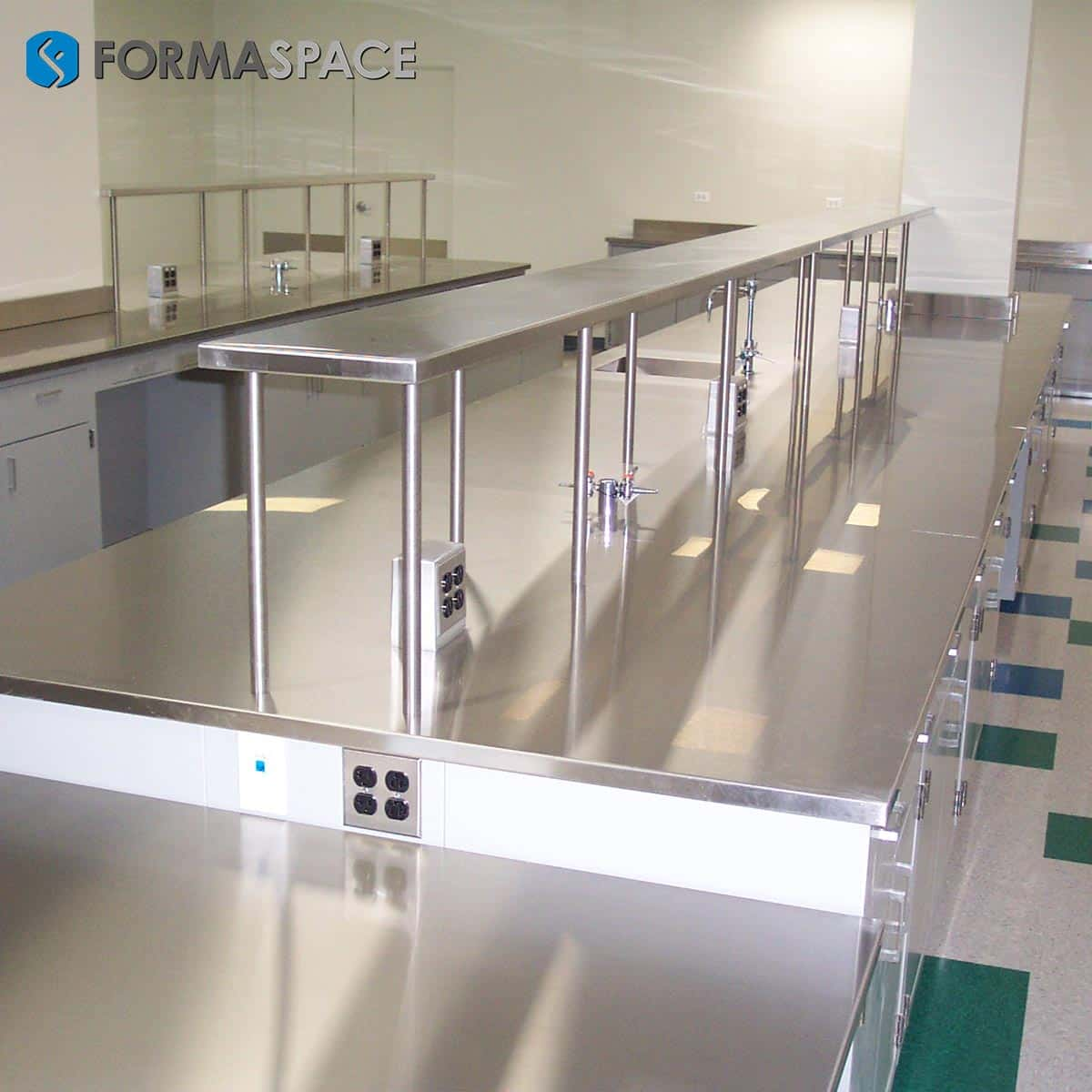 stainless steel countertop and reagent shelves