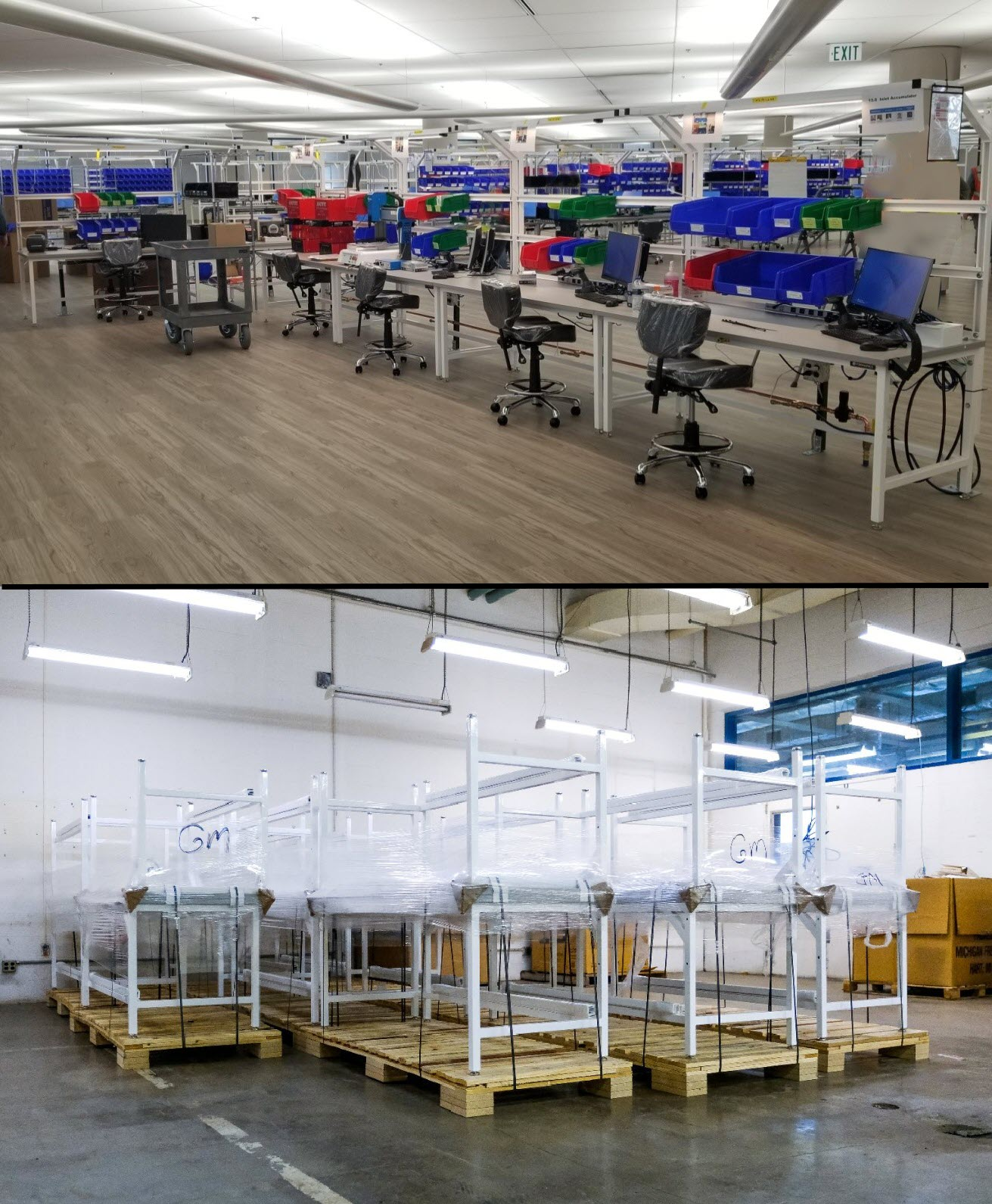 Formaspace manufactured 500 ESD workbenches for GM's ventilator factory in Kokomo, Indiana