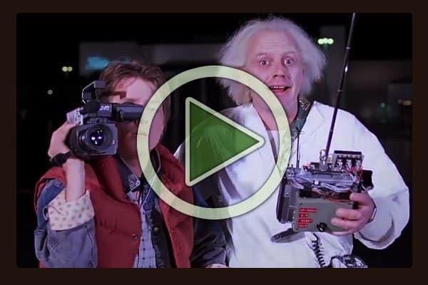 """The first Back to the Future film was released in 1985, 30 years ago this year. Here Michael J Fox as Marty McFly and Dr. Emmett """"Doc"""" Brown, played by Christopher Lloyd are launching the DeLorean Time Machine for the first time."""