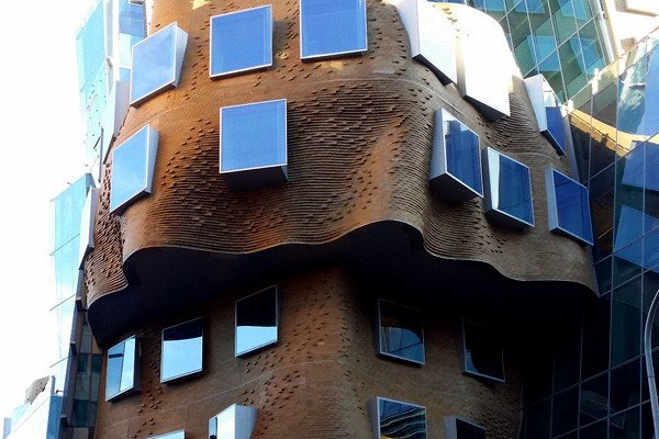 Detail of undulating, gravity defying brick exterior surface of new Dr Chau Chak Building. Photo courtesy Rae Allen.