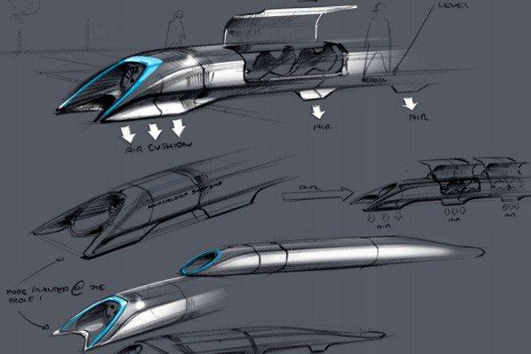 Elon Musk's drawings for a Hyperloop transportation system.