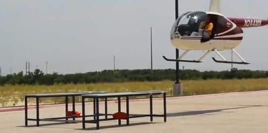Industrial-Workbenches-support-helicopter-landing-by-Formaspace-president-Jeff-Turk