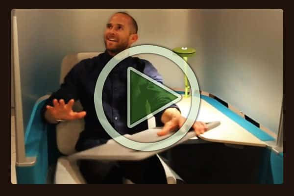 Interview with Sean Corcorran, General Manager, Steelcase Education on the new Brody seating system. It incorporates an economic lounge chair with built-in power and swivel tray table for a laptop or tablet. Targeted at the education and business markets, the Brody feels like a first-class long-haul airplane lounge seat system.
