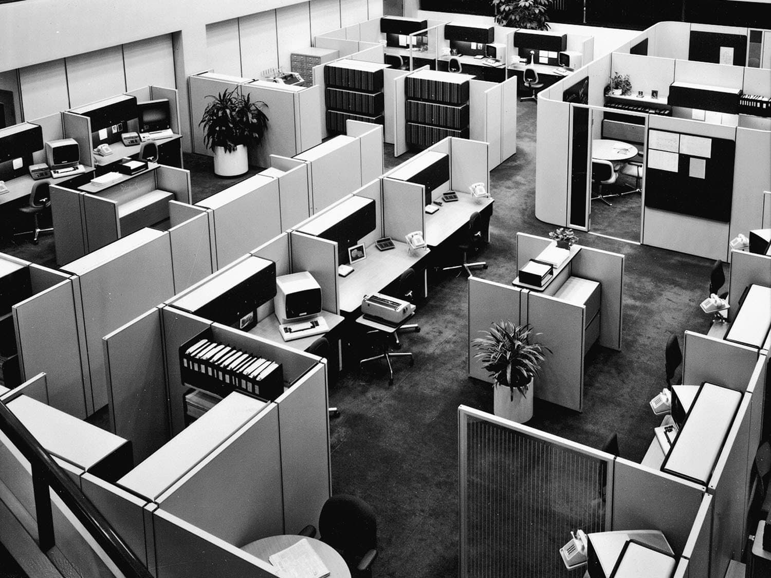 The stereotypical office cube farm environment has been a fertile source of humor, inspiring the Dilbert comic strip, the movie Office Space and both the British and US versions of the television series The Office. But Hermann Miller's 1967 Action Office II by designer Robert Probst was well received as a positive step when it was new. In time however, space planners crammed more and more of the units into offices, as shown in this photo.