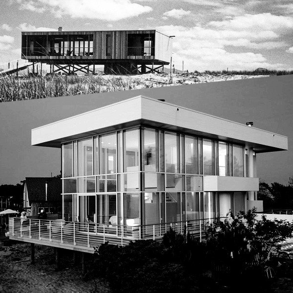 Richard Meier's iconic 1961 Lambert House on Fire Island New York contrasts with his 2014 commission for a new beach house design constructed in glass and steel in the International Style.